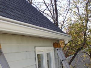 new gutter after being installed
