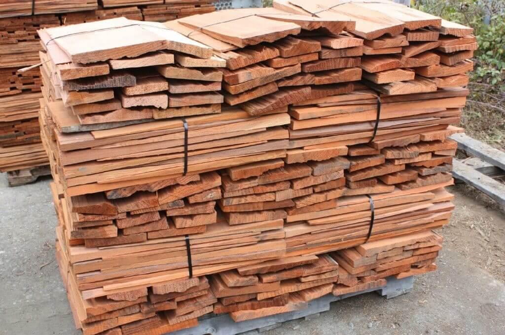 A pile of wood shingles