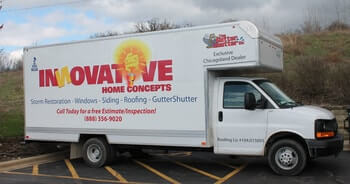Picture of a Innovative Home Concepts logo box truck