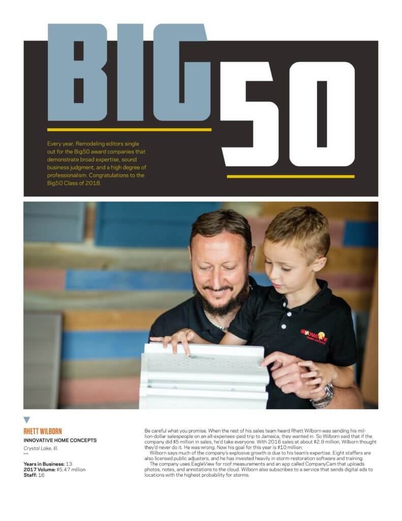 Innovative is elected to remodeling big 50 award