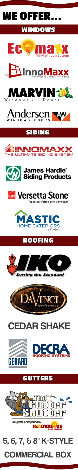 LIST OF HOME IMPROVEMENT PRODUCTS OFFERED BY INNOVATIVE HOME CONCEPTS, INC